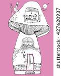 wonderful house  line art ... | Shutterstock .eps vector #427620937