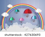 origami made colorful umbrella... | Shutterstock .eps vector #427630693