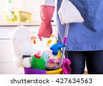 house keeper with apron and... | Shutterstock . vector #427634563