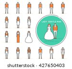 flat line vector people icons...
