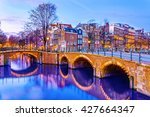 Stock photo canal in amsterdam at night netherlands 427664347