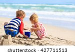 kids play with sand on summer... | Shutterstock . vector #427711513