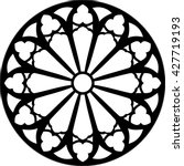 Gothic rosette window pattern, vector illustration