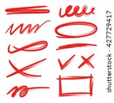 set of red underlines lettering ...