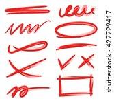 set of red underlines lettering ... | Shutterstock .eps vector #427729417