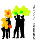 crowd of people with balloons... | Shutterstock .eps vector #427734763