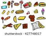 set of junk food icon doodle... | Shutterstock .eps vector #427748017