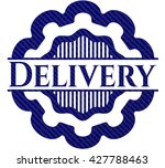 delivery badge with jean texture | Shutterstock .eps vector #427788463