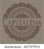 capitalism wood emblem. vintage. | Shutterstock .eps vector #427797973
