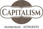 capitalism wooden signboards | Shutterstock .eps vector #427818193