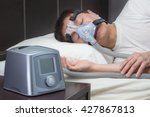 asian man with sleep apnea... | Shutterstock . vector #427867813