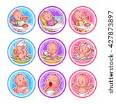 set of stickers with babies.... | Shutterstock .eps vector #427873897