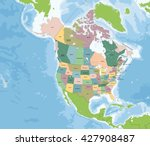 north america map with usa and... | Shutterstock .eps vector #427908487