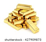 Gold Bars Pile Isolated On...