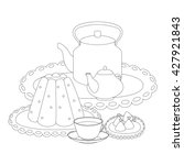 tea party outline drawing for... | Shutterstock . vector #427921843