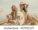 two beautiful boho girls... | Shutterstock . vector #427931197