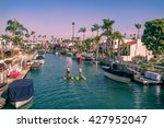 long beach moored boats and... | Shutterstock . vector #427952047