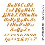 3d gold alphabets with number... | Shutterstock . vector #427996777