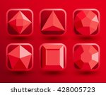 red jewel shapes collection  ... | Shutterstock .eps vector #428005723