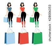 women with shopping bags. set... | Shutterstock .eps vector #428006353