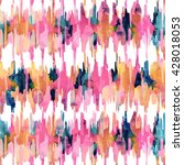 watercolor ikat vibrant... | Shutterstock . vector #428018053