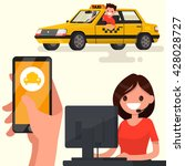 order a taxi through the app on ... | Shutterstock .eps vector #428028727