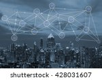 people network icons and city... | Shutterstock . vector #428031607