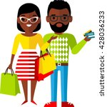 shopping concept with couple... | Shutterstock .eps vector #428036233