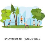 People involved in sports outdoors. vector. people engaged in outdoor sports. women engaged in outdoor sports. men do outdoor sports. active sports in a city park on the playground. | Shutterstock vector #428064013