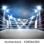 boxing ring with illumination... | Shutterstock . vector #428066383
