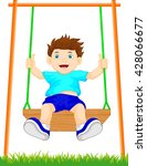 boy on swing in the park | Shutterstock . vector #428066677