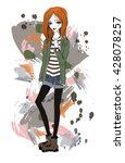 cute girl in a grunge style.... | Shutterstock .eps vector #428078257