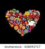hippie heart print with doves... | Shutterstock . vector #428092717