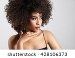 pretty young woman wears huge... | Shutterstock . vector #428106373