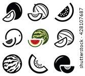 melon icon collection   vector... | Shutterstock .eps vector #428107687
