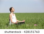 pregnant woman practicing yoga... | Shutterstock . vector #428151763