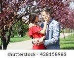 young loving couple hugging in... | Shutterstock . vector #428158963