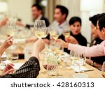 people cheering each other with ... | Shutterstock . vector #428160313