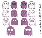 ghost cartoon illustration set. ... | Shutterstock .eps vector #428169967