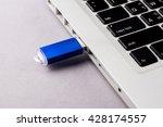 usb flash drive on computer... | Shutterstock . vector #428174557