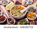 herbs   berries and flowers on... | Shutterstock . vector #428182723