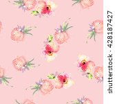 strawberry flowers seamless... | Shutterstock . vector #428187427