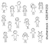 doodle kids with different... | Shutterstock .eps vector #428199253