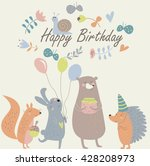 birthday card with cute... | Shutterstock .eps vector #428208973