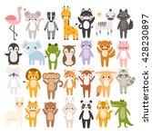 Big Set Of Cute Cartoon Animal...