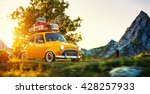cute little retro car with... | Shutterstock . vector #428257933
