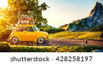 cute little retro car with... | Shutterstock . vector #428258197