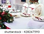 white wedding table set... | Shutterstock . vector #428267593