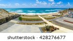 Small photo of TEL-AVIV, ISRAEL - MAY 27, 2016: Panoramic view of Givat Aliyah beach and nearby area, with locals and visitors, in the southern part of Jaffa, Now part of Tel-Aviv Yafo, Israel