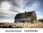 Abandoned Barn And Winter Sky ...